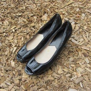 Michael Kors Black Peep Toe Platform Wedges
